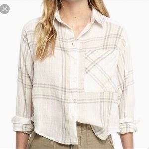 Free People Cropped Cutie Plaid Shirt